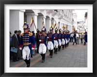 Framed Soldiers parade during changing of the guard ceremony, Plaza de La Independencia, Quito, Ecuador