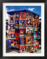 Framed Pillow covers for sale at a handicraft market, Otavalo, Imbabura Province, Ecuador