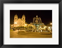 Framed Fountain lit up at night at a town square, Cuzco, Cusco Province, Cusco Region, Peru