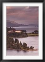 Framed Hotel at the lakeside, Llao Llao Hotel, Lake Nahuel Huapi, San Carlos de Bariloche, Rio Negro Province, Patagonia, Argentina