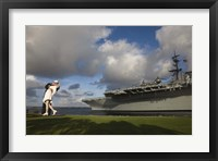 Framed Sculpture Unconditional Surrender with USS Midway aircraft carrier, San Diego, California, USA