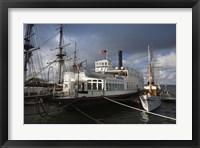 Framed Maritime museum with Ferry Berkeley, San Diego Bay, San Diego, California, USA