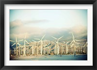 Framed Wind turbines with mountains in the background, Palm Springs, Riverside County, California, USA
