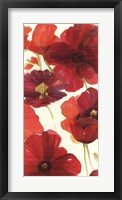 Framed Red and Orange Poppies II Crop I