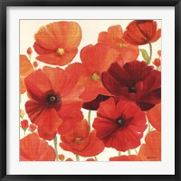 Framed Red and Orange Poppies I