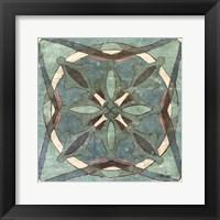 Framed Tuscan Tile Blue Green II