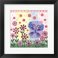 Butterfly & Flowers Framed Print