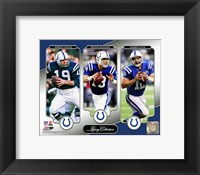 Framed Johnny Unitas, Peyton Manning, & Andrew Luck Legacy Collection