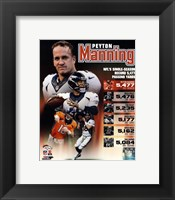 Framed Peyton Manning Single Season Passing Yards Record