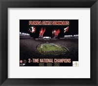Framed Florida State Seminoles 3- Time National Champions