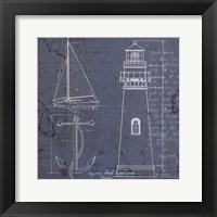 Coastal Blueprint IV Framed Print