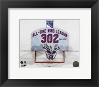 Framed Henrik Lundqvist New York Rangers All-Time Wins Leader 302 Wins Overlay