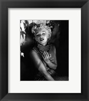 Framed Marilyn Monroe 1954 Striped Dress