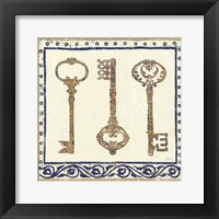 Framed Regal Keys Indigo and Cream