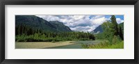 Framed Creek along mountains, McDonald Creek, US Glacier National Park, Montana, USA