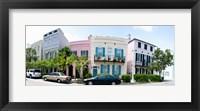 Framed Rainbow row colorful houses along a street, East Bay Street, Charleston, South Carolina, USA