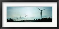 Framed Wind turbines in motion at dusk, Provence-Alpes-Cote d'Azur, France