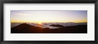Framed Volcanic landscape covered with clouds, Haleakala Crater, Maui, Hawaii, USA