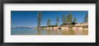 Framed Sand Harbor at morning, Lake Tahoe, Nevada, USA