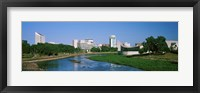 Framed Downtown Wichita viewed from the bank of Arkansas River, Kansas