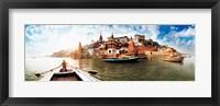 Framed Boats in the Ganges River, Varanasi, Uttar Pradesh, India