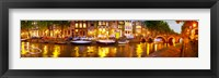 Framed Buildings along a canal at dusk, Amsterdam, Netherlands
