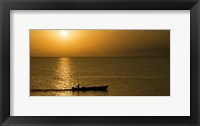 Framed Fishing boat in the sea at sunset, Negril, Westmoreland, Jamaica