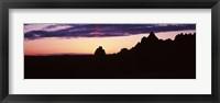 Framed Silhouette of mountains at dusk, Badlands National Park, South Dakota, USA