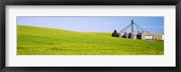 Framed Wheat field with silos in the background, Palouse County, Washington State