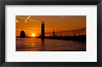 Framed Grand Haven Lighthouse at sunset, Grand Haven, Michigan, USA