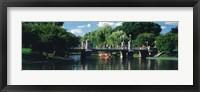 Framed Swan boat in the pond at Boston Public Garden, Boston, Massachusetts, USA