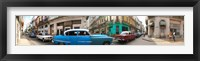 Framed 360 degree view of old cars on a street, Havana, Cuba