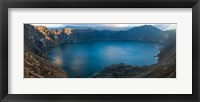 Framed Lake surrounded by mountains, Quilotoa, Andes, Cotopaxi Province, Ecuador