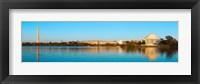 Framed Jefferson Memorial and Washington Monument at dusk, Tidal Basin, Washington DC, USA