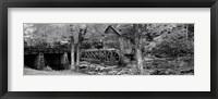 Framed Glade Creek Grist Mill, Babcock State Park, West Virginia, USA (Black & White)