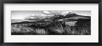 Framed Fence with mountains in the background, Colorado (black and white)