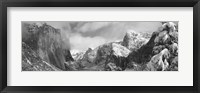 Framed Black and white view of Mountains and waterfall in snow, El Capitan, Yosemite National Park, California