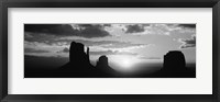 Framed Silhouette of buttes at sunset, Monument Valley, Utah (black and white)