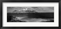 Framed Nubble Lighthouse in black and white, Cape Neddick, Maine