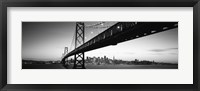 Framed Bay Bridge in black and white, San Francisco Bay, San Francisco, California, USA