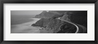 Framed Dusk Highway 1 Pacific Coast CA (black and white)