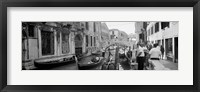 Framed Buildings along a canal, Grand Canal, Rio Di Palazzo, Venice, Italy (black and white)