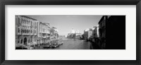 Framed Gondolas and buildings along a canal in black and white, Grand Canal, Venice, Italy