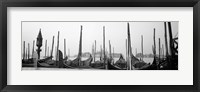 Framed Gondolas moored at a harbor, San Marco Giardinetti, Venice, Italy (black and white)