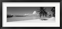 Framed Moana Beach (black and white), Bora Bora, Tahiti, French Polynesia