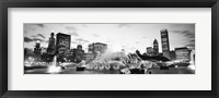 Framed Buckingham Fountain, Grant Park, Chicago, Illinois (black & white)