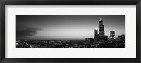 Framed Chicago Skyline at Night (black & white)