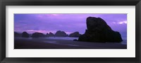Framed Silhouette of rock formations in the sea against a pink sky, Myers Creek Beach, Oregon