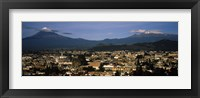 Framed Aerial view of a city a with mountain range in the background, Popocatepetl Volcano, Cholula, Puebla State, Mexico