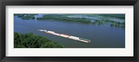 Framed Barge in a river, Mississippi River, Marquette, Prairie Du Chien, Wisconsin-Iowa, USA